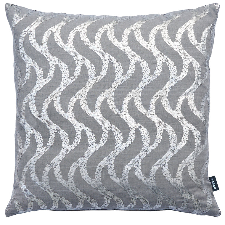 Rocco Wave Grey 43 x 43 cm Filled Cushion