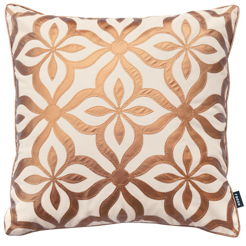 Rocco Dubai Natural Gold Metallic Faux Leather 43 x 43cm Filled Cushion