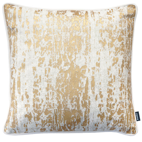 Rocco Allure Gold Metallic Velvet Natural 43 x 43 cm Filled Cushion