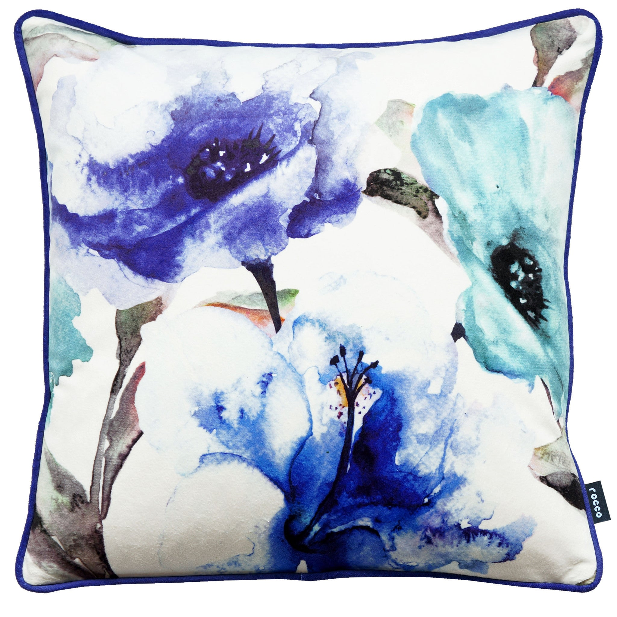 Rocco Flora Blue 43 x 43cm Filled Cushion - Set Of 4