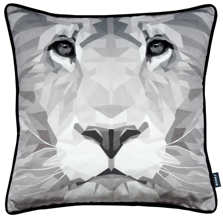 Rocco Lion Grey 43 x 43 cm Filled Cushion
