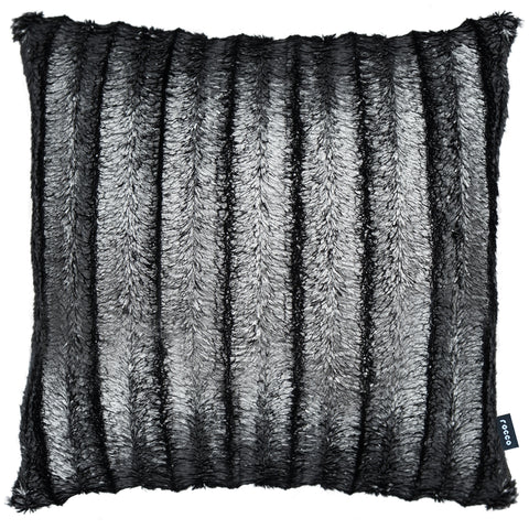 Rocco Serene Carved Metallic Silver Grey Faux Fur 43 x 43cm Filled Cushion