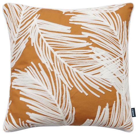Rocco Palm Embroidered Mustard 43 x 43cm Filled Cushion