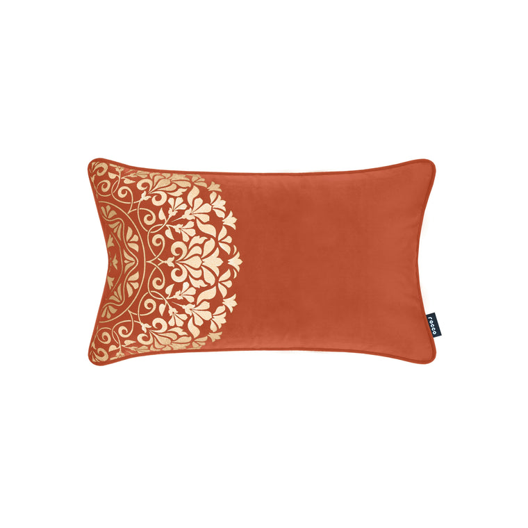 Rocco Qatar Velvet with Gold Metallic Orange 30 x 50cm Filled Cushion