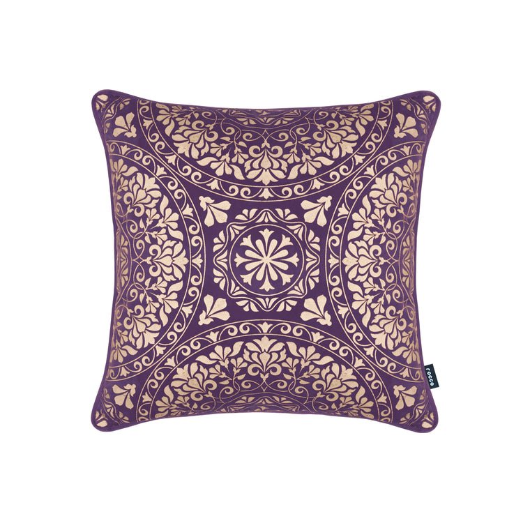 Rocco Medina Velvet with Gold Metallic Purple 43 x 43cm Filled Cushion