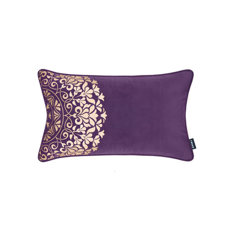 Rocco Qatar Velvet with Gold Metallic Purple 30 x 50cm Filled Cushion