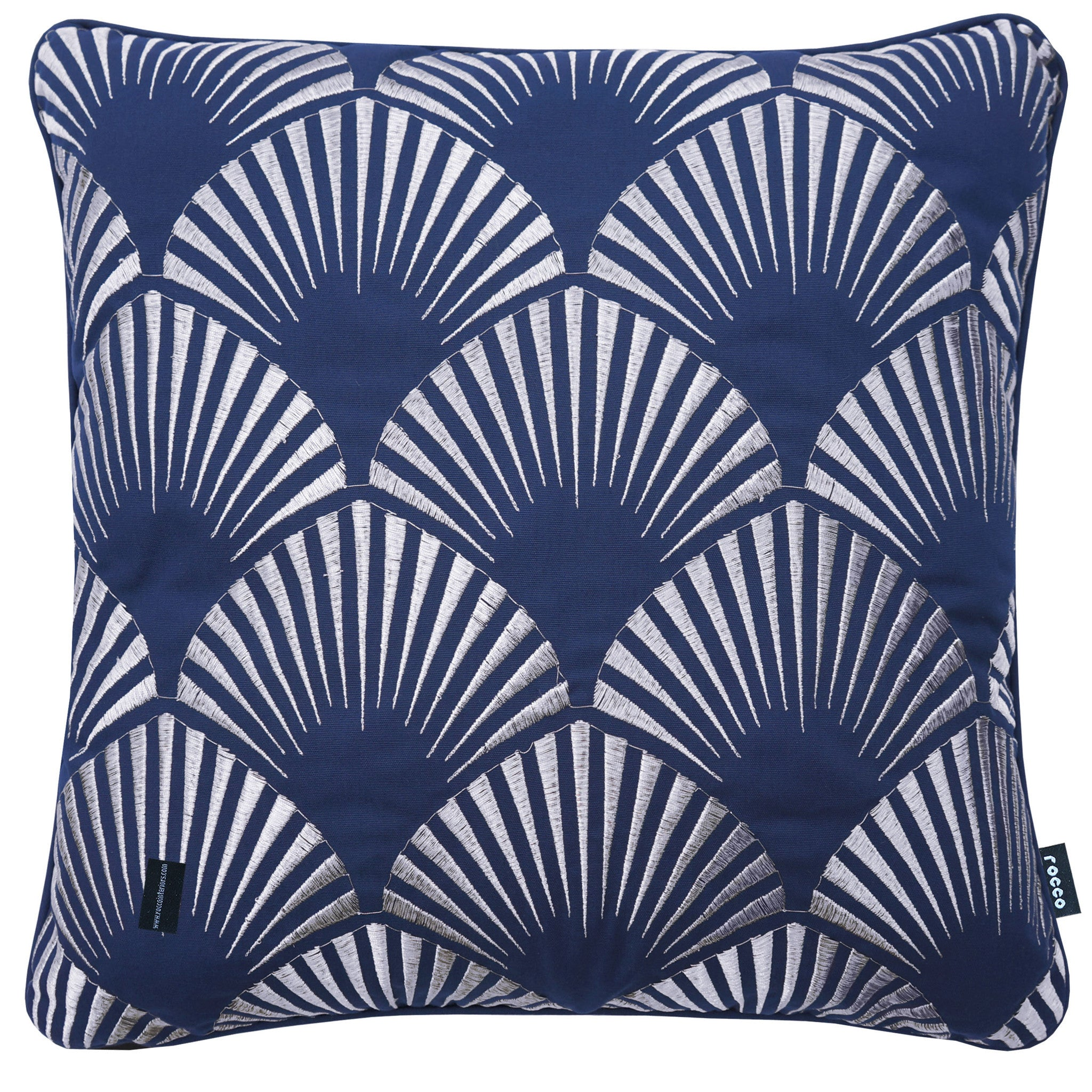 Rocco Shell Metallic Navy 43 x 43cm Filled Cushion - Set Of 4