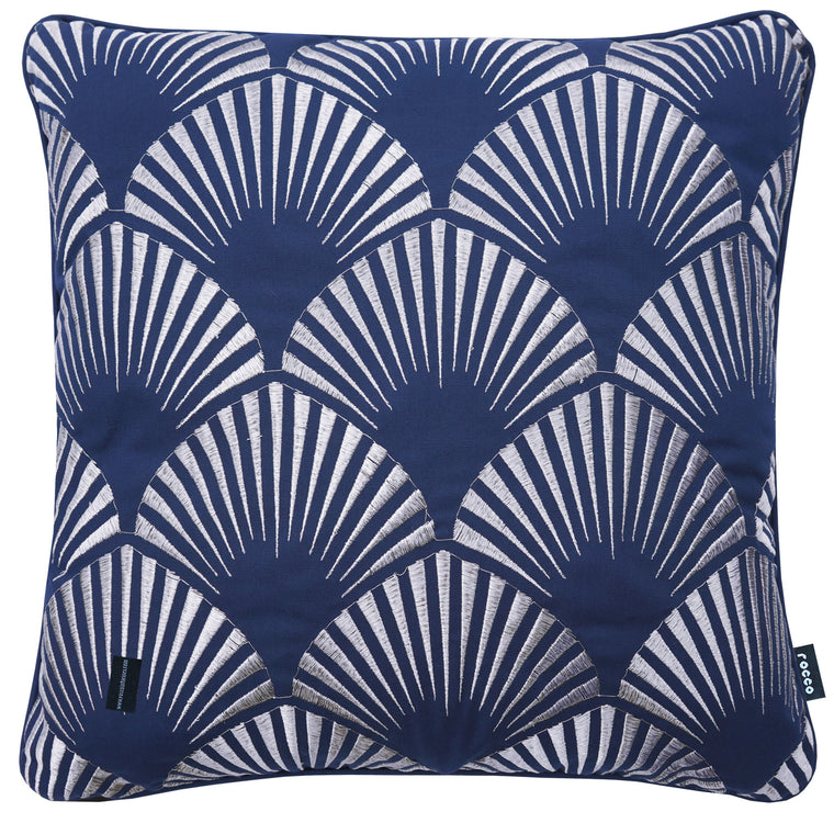 Rocco Shell Metallic Navy 43 x 43cm Filled Cushion
