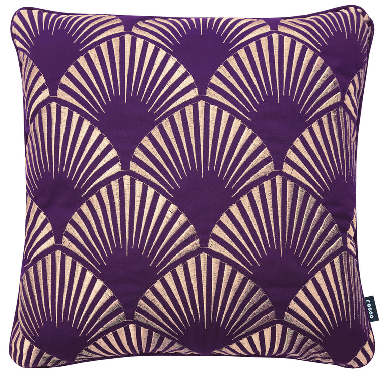Rocco Shell Metallic Shine Purple 43 x 43cm Filled Cushion