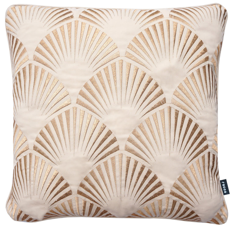 Rocco Shell Metallic Natural 43 x 43cm Filled Cushion