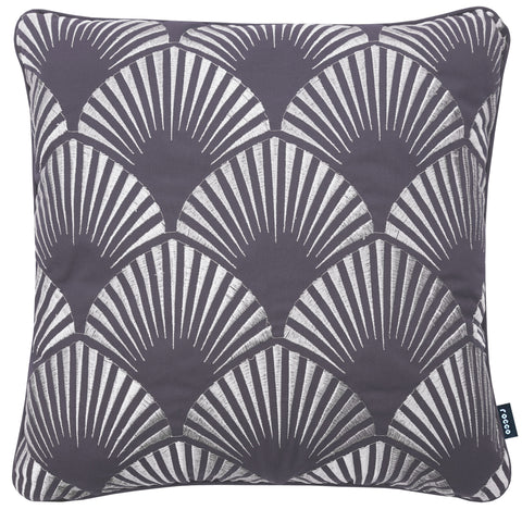 Rocco Shell Metallic Grey 43 x 43cm Filled Cushion