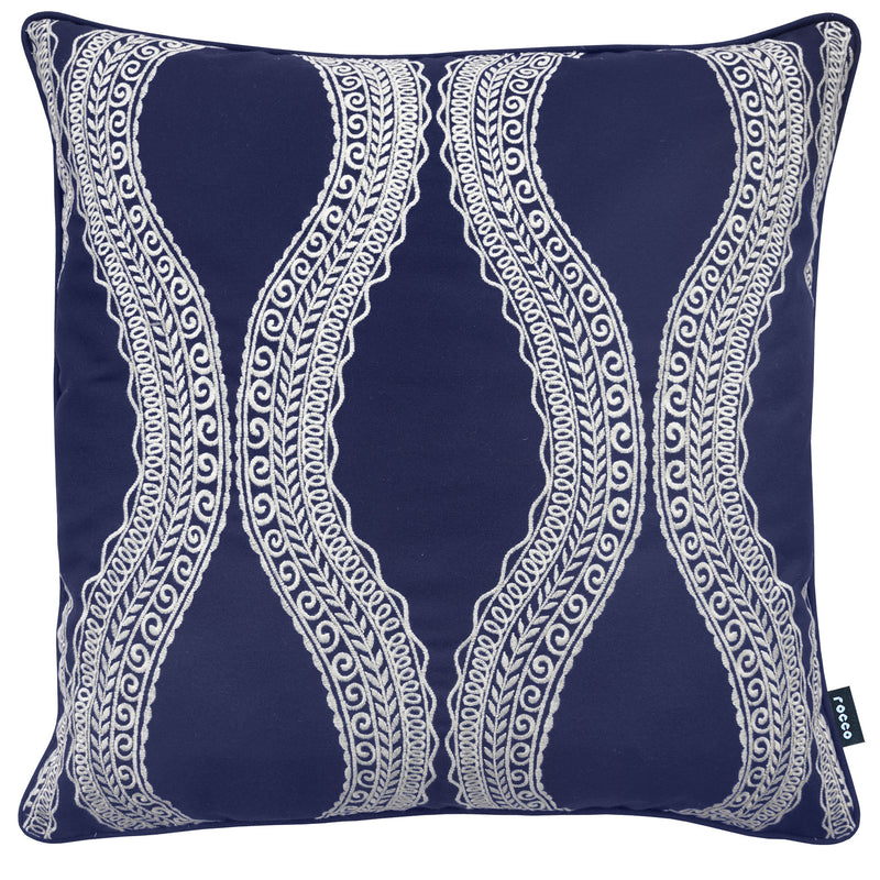 Rocco Atlantis Embroidered navy 43 x 43cm Filled Cushion - Set Of 4