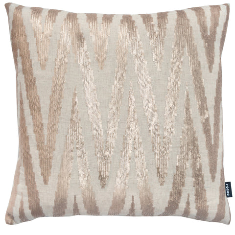 Rocco Brooklyn Metallic Natural 43 x 43cm Filled Cushion