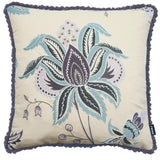 Rocco Odyessey Embroidered Flower Purple 43 x 43cm Filled Cushion - Set Of 4