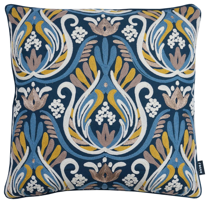 Rocco Baroque Embroidered Navy 43 x 43cm Filled Cushion - Set Of 4
