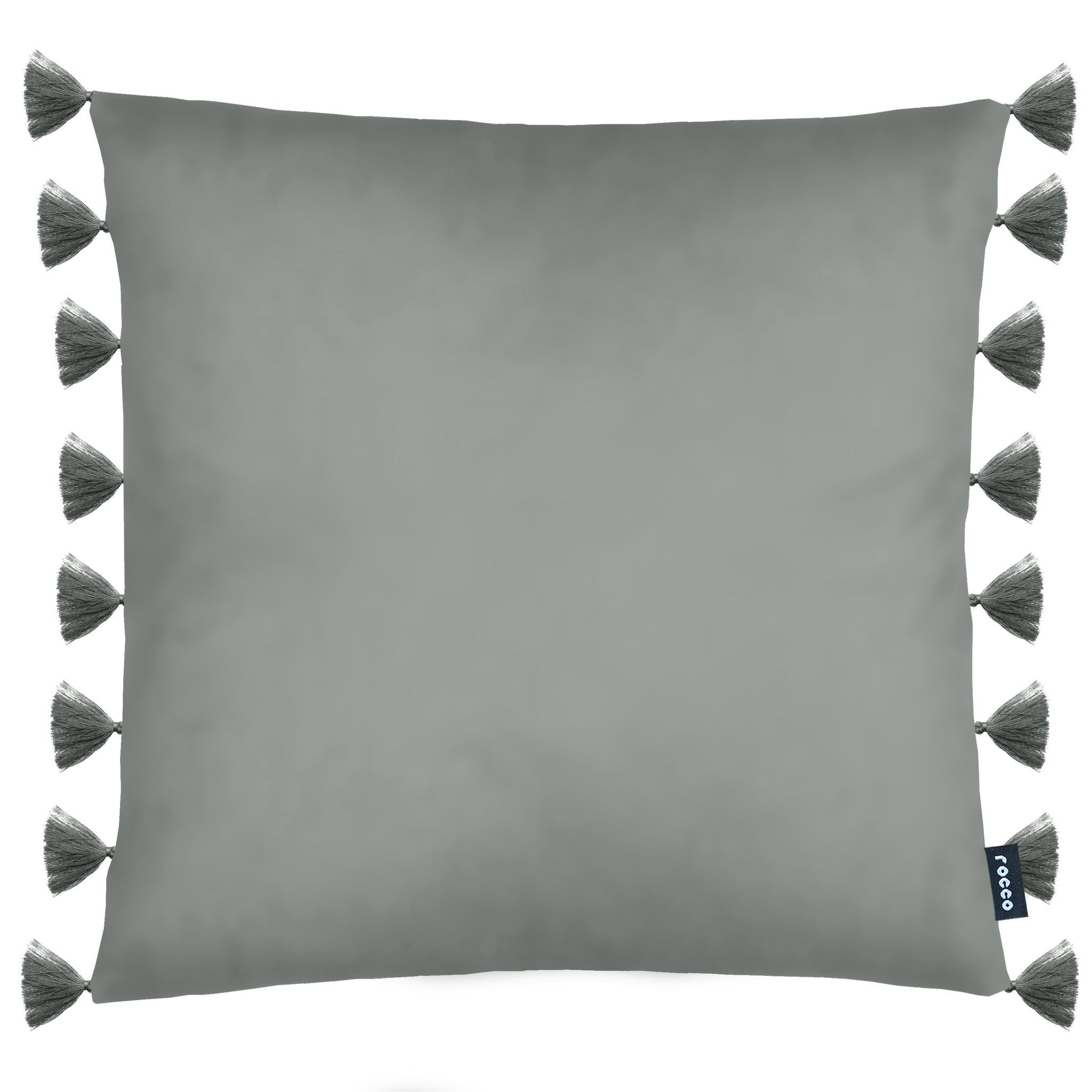 Rocco Royal Velvet Tassel Trim Grey 43 x 43cm Filled Cushion - Set Of 4