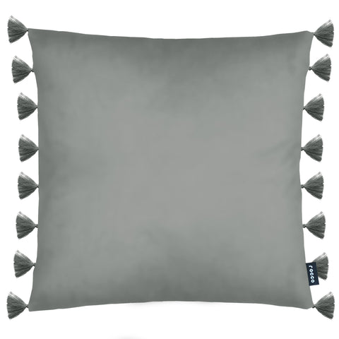 Rocco Royal Velvet Tassel Trim Grey 43 x 43cm Filled Cushion - Single