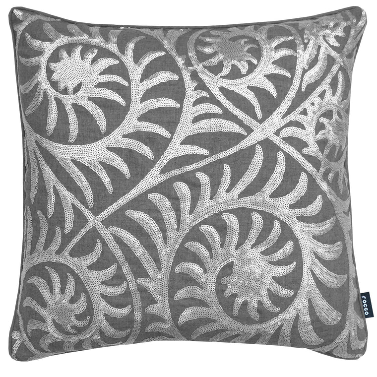 Rocco Helix Silver Grey Matt Sequin Scroll 43 x 43cm Filled Cushion
