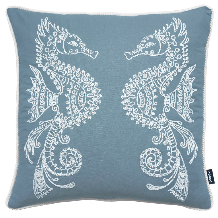 Rocco Seahorse Embroidered Navy 43 x 43cm Filled Cushion