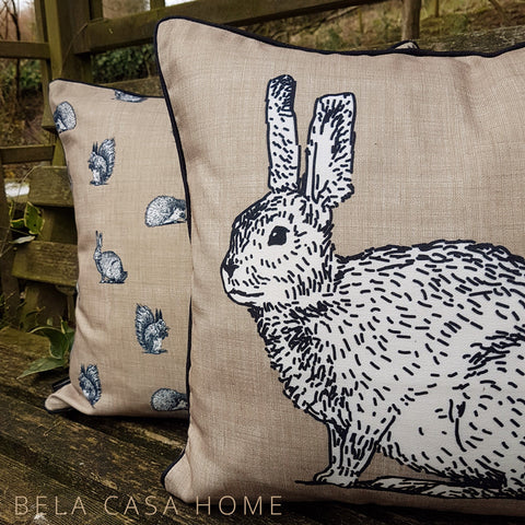 Country Cottage Rabbit Linen 43x43cm Single Cushion Cover