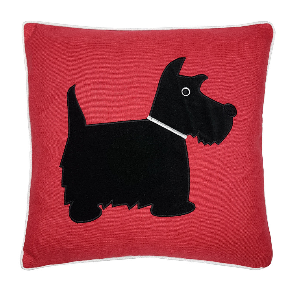 One Of A Kind Scottie Dog 43x43cm Red Cushion