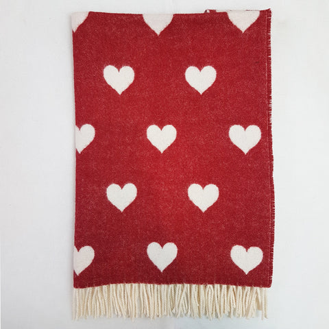 Bela Baby Red Love Hearts Lambs Wool Blanket and Cushion