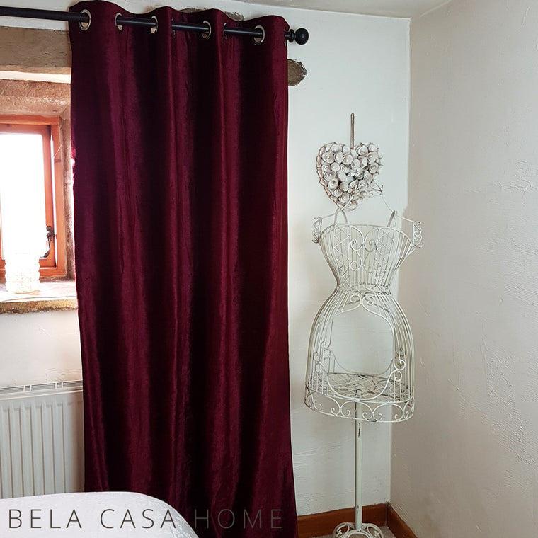 Valentia Red Velvet Ready-Made Lined Eyelet Curtains