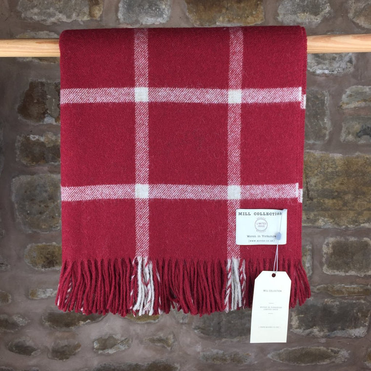 Red Large Check Lambs Wool Throw