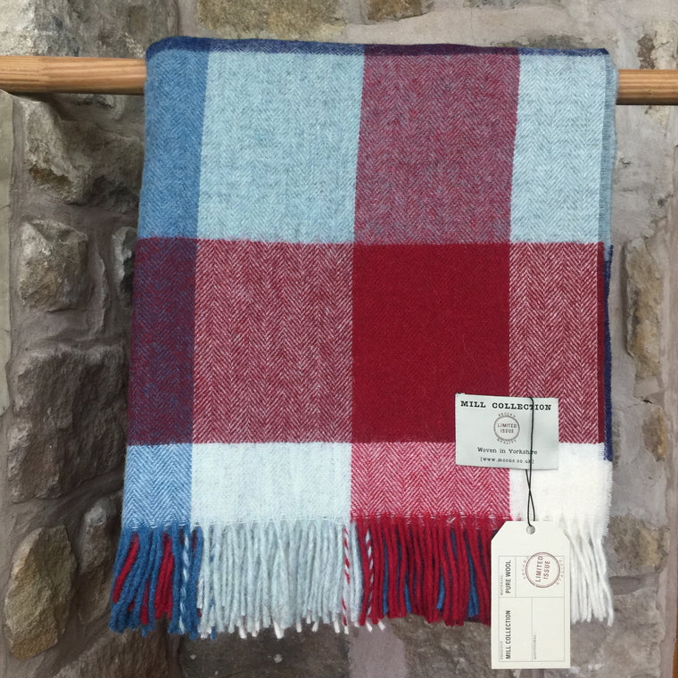 Red and Blue Squares Pure New Wool Throw