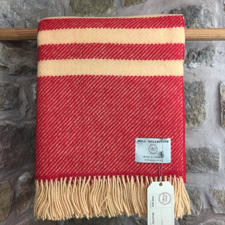 Red and Orange Stripe Pure New Wool Throw