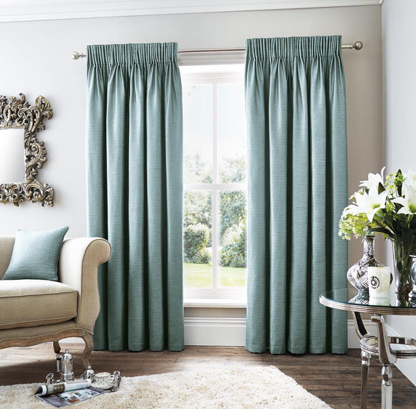 Ribchester Plain Teal Linen Style Pencil Pleat Curtains