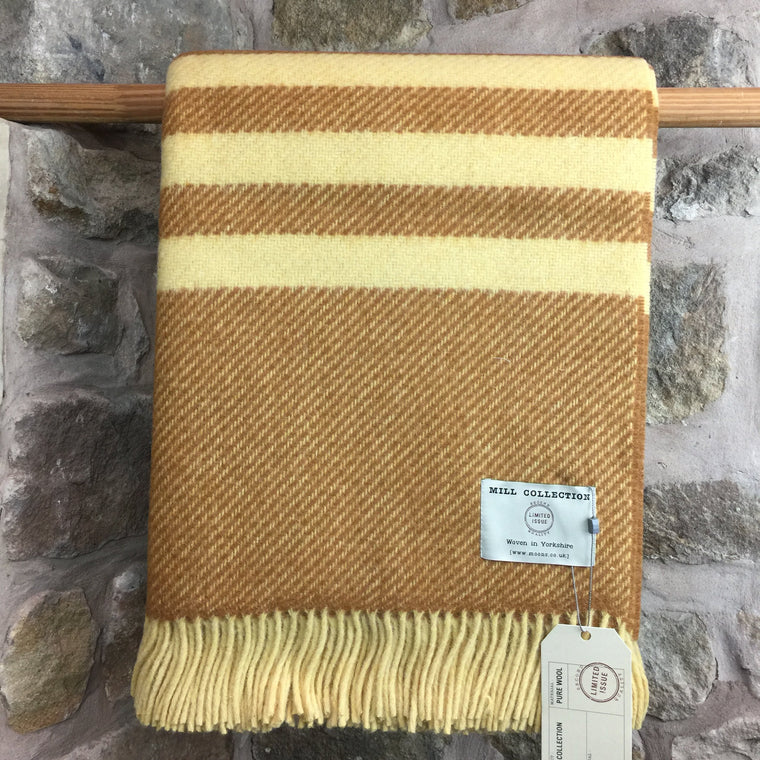 Rust and Yellow Stripe Pure New Wool Throw
