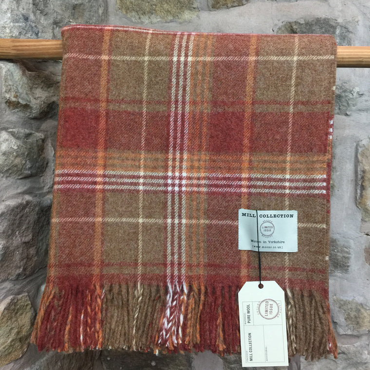 Rusty Red and Orange Check Pure New Wool Throw