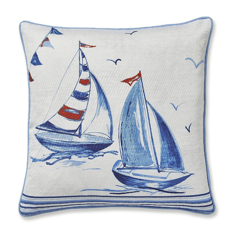 Sailing Boats Cushion Cover White