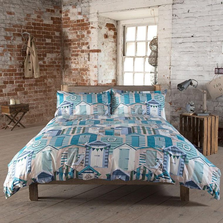 Seascapes Beach Hut Blue Duvet Cover Set