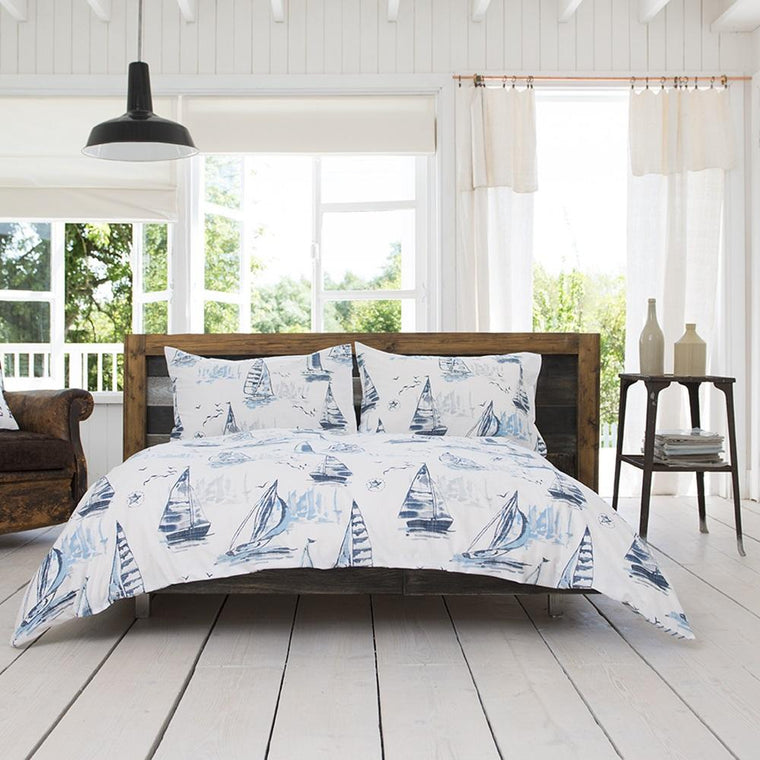 Seascapes Sailing Boats Blue Duvet Cover Set