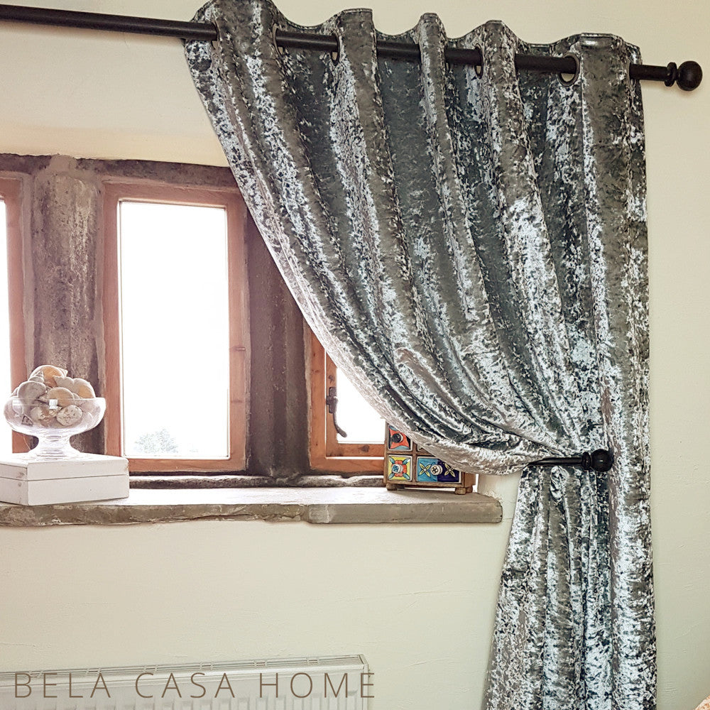 Design Velvet Curtains crushed velvet eyelet top fully lined ready made curtains silver steel