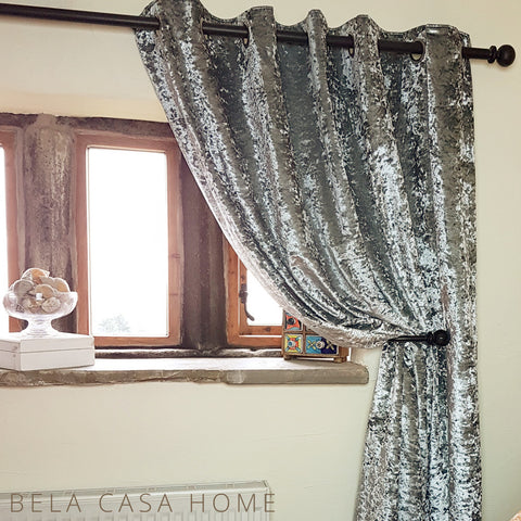 Crushed Velvet Eyelet Top, Fully Lined Ready Made Curtains - Silver Steel