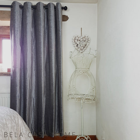 Valentia Silver Velvet Ready-Made Lined Eyelet Curtains