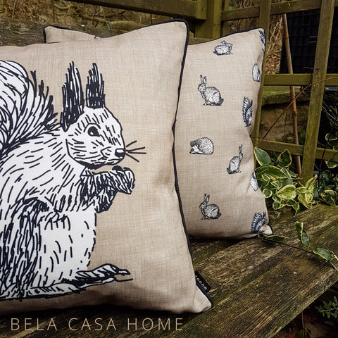 Country Cottage Squirrel Linen 43x43cm Single Cushion Cover