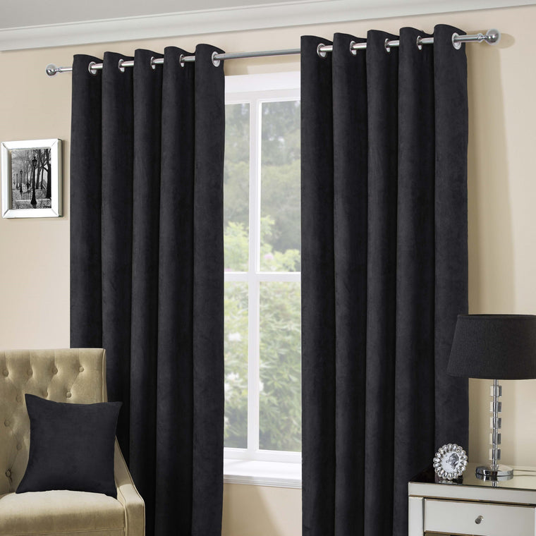 Suede Casa Black Faux Suede Eyelet Top Curtains