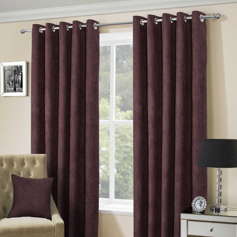 Suede Casa Brown Faux Suede Eyelet Top Curtains