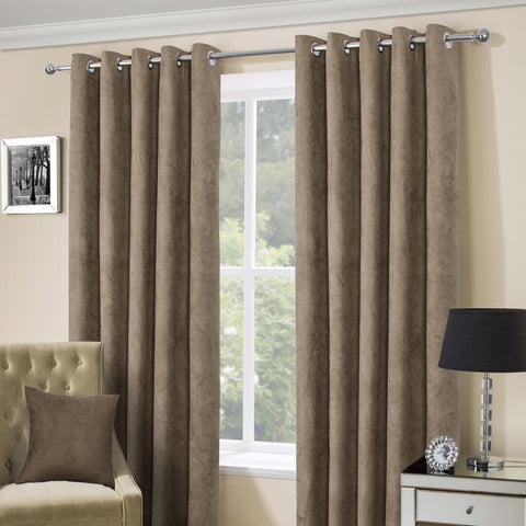 Suede Casa Mink Faux Suede Eyelet Top Curtains