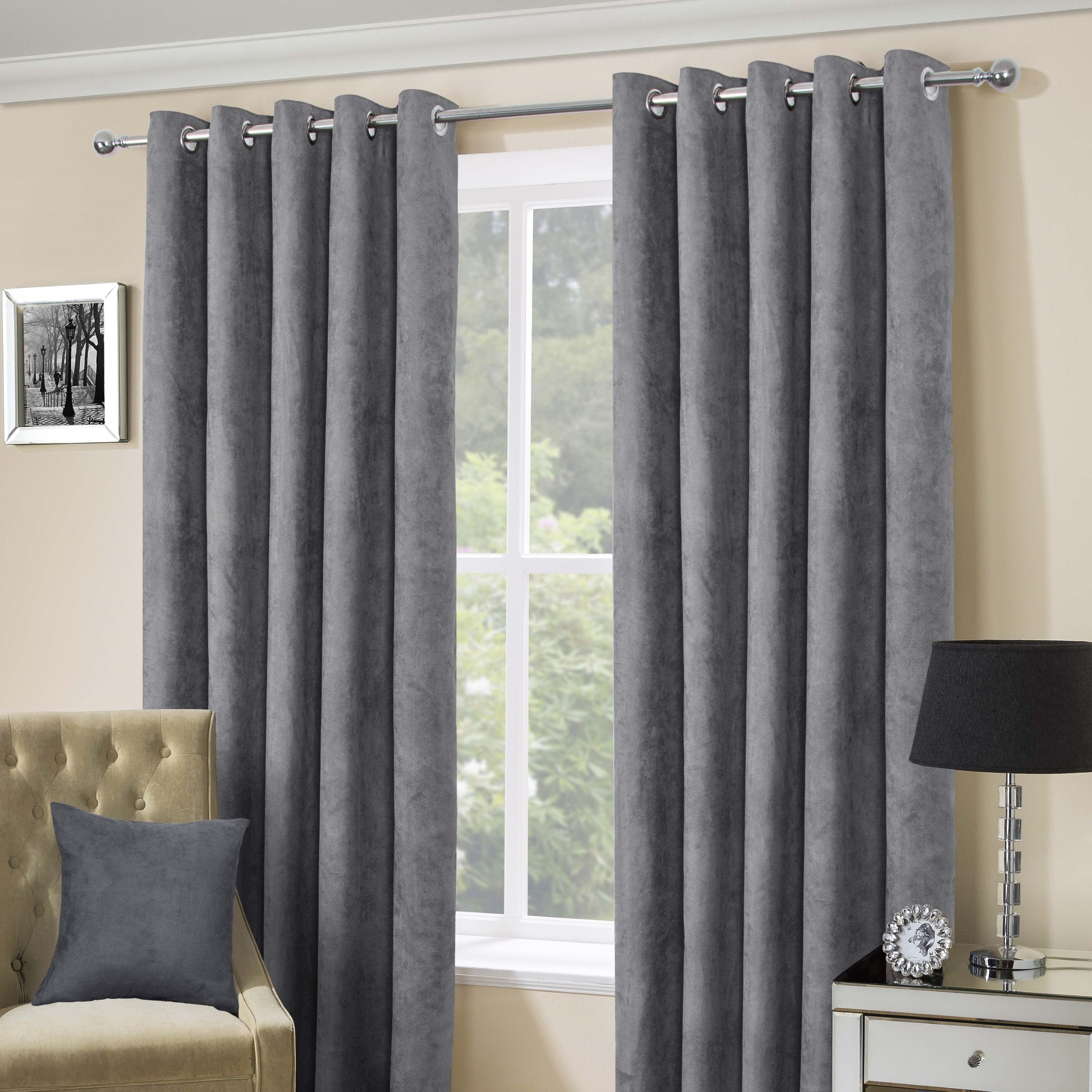 Suede Casa Silver Faux Suede Eyelet Top Curtains