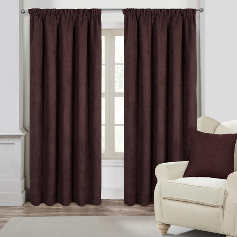 Suede Casa Brown Faux Suede Pencil Pleat Curtains