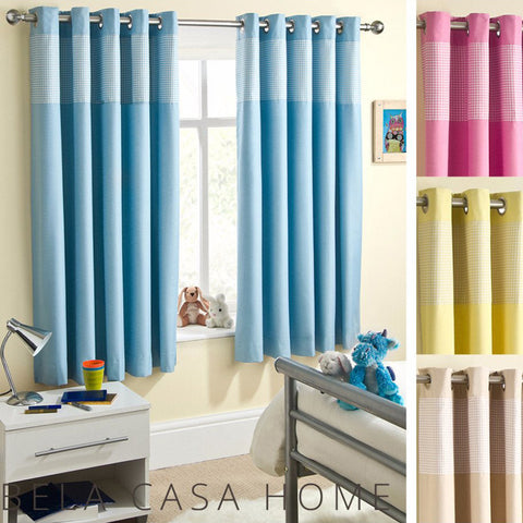 Candy Gingham Check Lined Thermal Blockout Eyelet Curtains