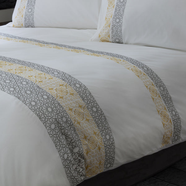 Toray Saffron Embroidered 100% Cotton White Duvet Cover & Pillowcase Set