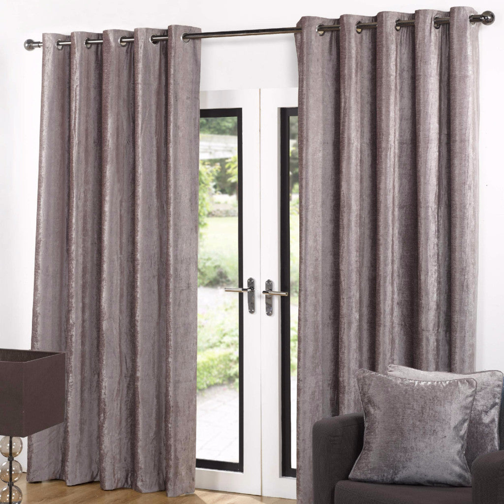 Valentia Latte Velvet Ready-Made Lined Eyelet Curtains