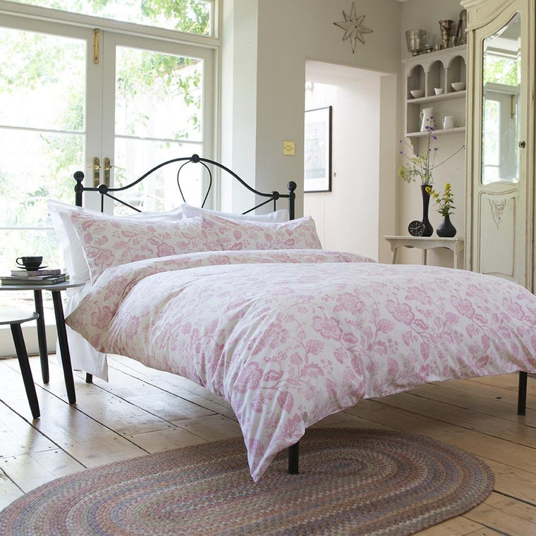 Vintage Dutch Floral Pink Duvet Cover Set
