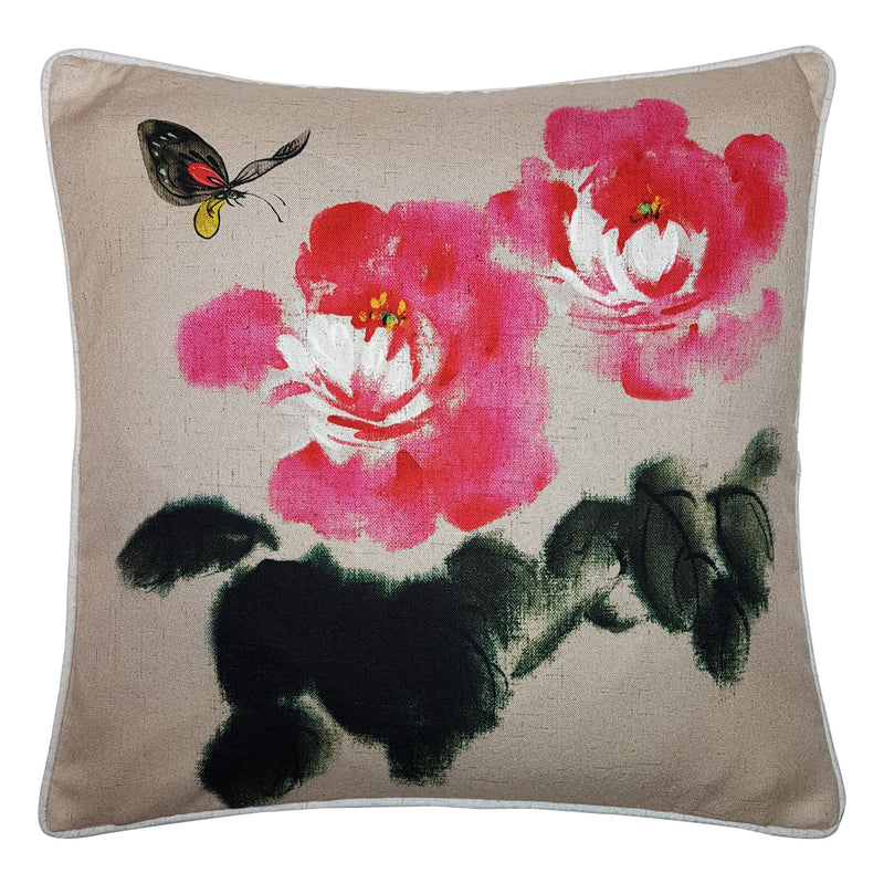 One Of A Kind Pink Watercolour Wild Flower 43x43cm Cushion